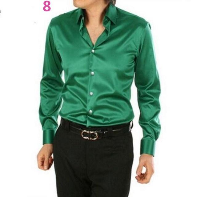 f92580bd4 Men Dress Shirt Custom Casual Suits Silk Satin Long sleeve Casual ...