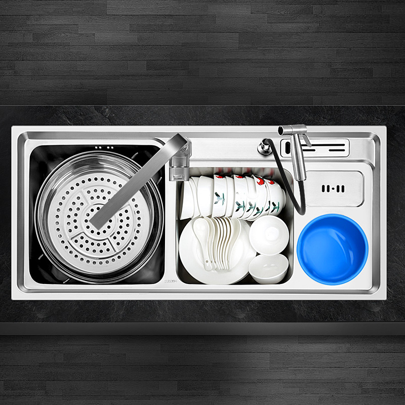 304 stainless steel nanometer three slot with trash multi functional kitchen sink basins thickening two groove meal - 3