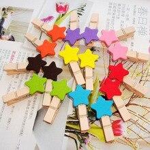 16 шт. цветные деревянные зажимы в форме звезды мини размера для фото, прищепки, креативные декоративные зажимы, Деревянные прищепки 3,5 см
