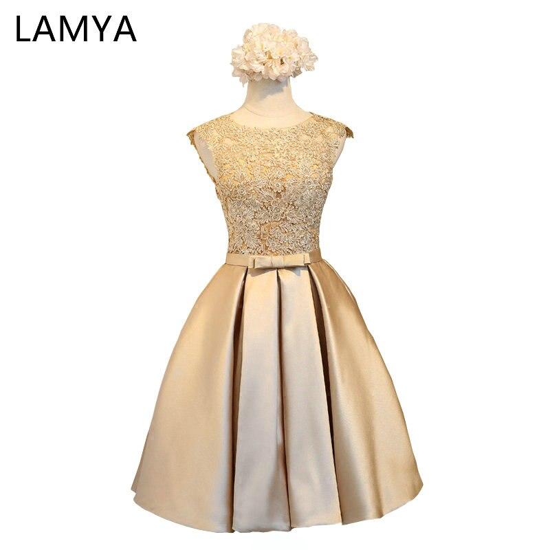 LAMYA Short A Line Pink Satin   Prom     Dresses   For Women 2018 Lace Wedding Party Formal Gown   Dress   Vestido De Festa
