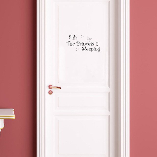 Cute Quote Shh The Princess Vinyl Door Sticker Removable Home Decoration Wall Stickers For Kids Rooms & Cute Quote Shh The Princess Vinyl Door Sticker Removable Home ...
