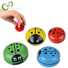 Creative Wooden Children Yoyo Toys Hand Painting Lovely Ladybug Yoyo For Kids Free Shipping GYH S30(China)