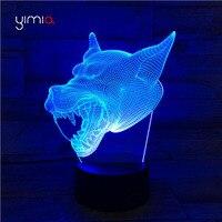 YIMIA Kreatywny Wolf head 7 Kolory Zmiana Spowoduje Lampy Akryl Zdalnego 3D led light night micro usb tabeli lampy biurko lampe wystrój domu
