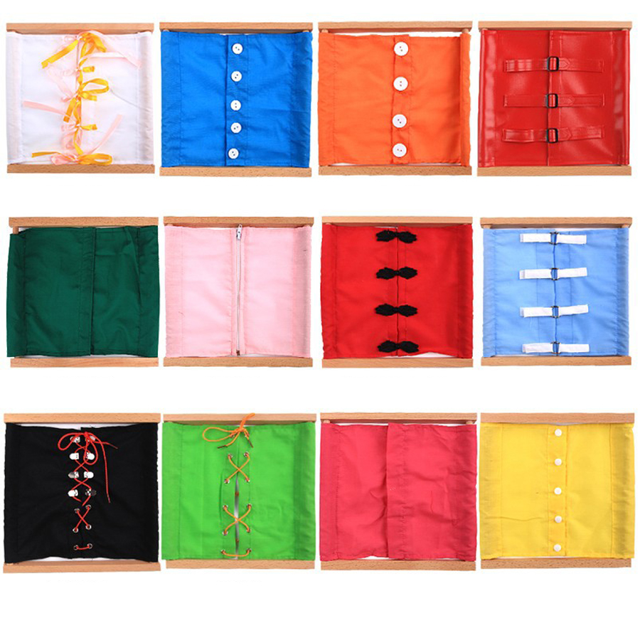 Baby Montessori Materials Toys Dressing/zipper/button/lacing Practical Life Skills Teaching Preschool Early Educational Toy New Home