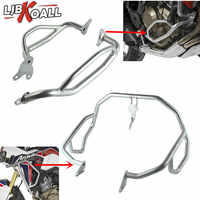 LJBKOALL Silver Stainless Steel Upper and Lower Crash Bars Engine Guards with Bolts For Honda CRF1000L Africa Twin 2016-2017