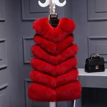 32039c7b5d2fc Hoge Kwaliteit Faux Vos Bont Vest Vrouwen Rode Vesten Winter Dikke Warme  Bont Vest Mode Luxe Bont Jas Gilet vrouwelijke w1975