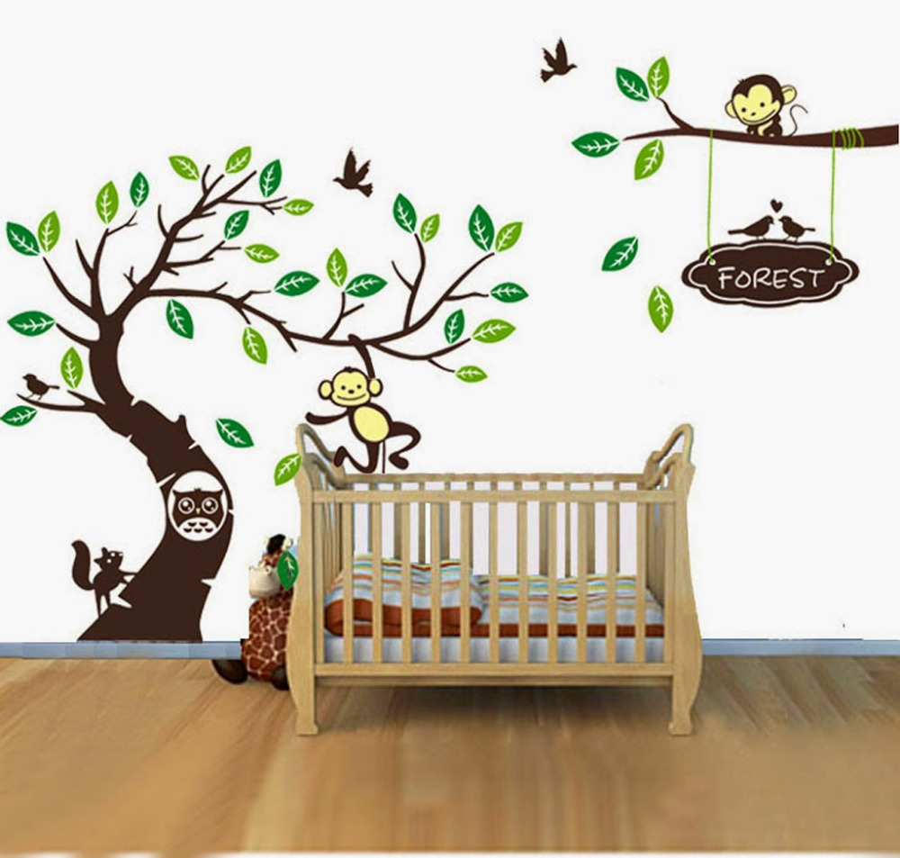 4 Cute Monkeys Wall Decals Sticker Nursery Decor Mural: Personalised Name Monkey Tree Wall Art Stickers Kids