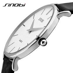 SINOBI Fashion Brand Super Slim Quartz-watch Luxury Men's Genuine Leather Business Watch Waterproof Wristwatch Relogio Masculino