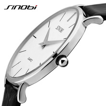 SINOBI Fashion Brand Super Slim Quartz-watch Luxury Men's Genuine Leather Business Watch Waterproof Wristwatch Relogio Masculino