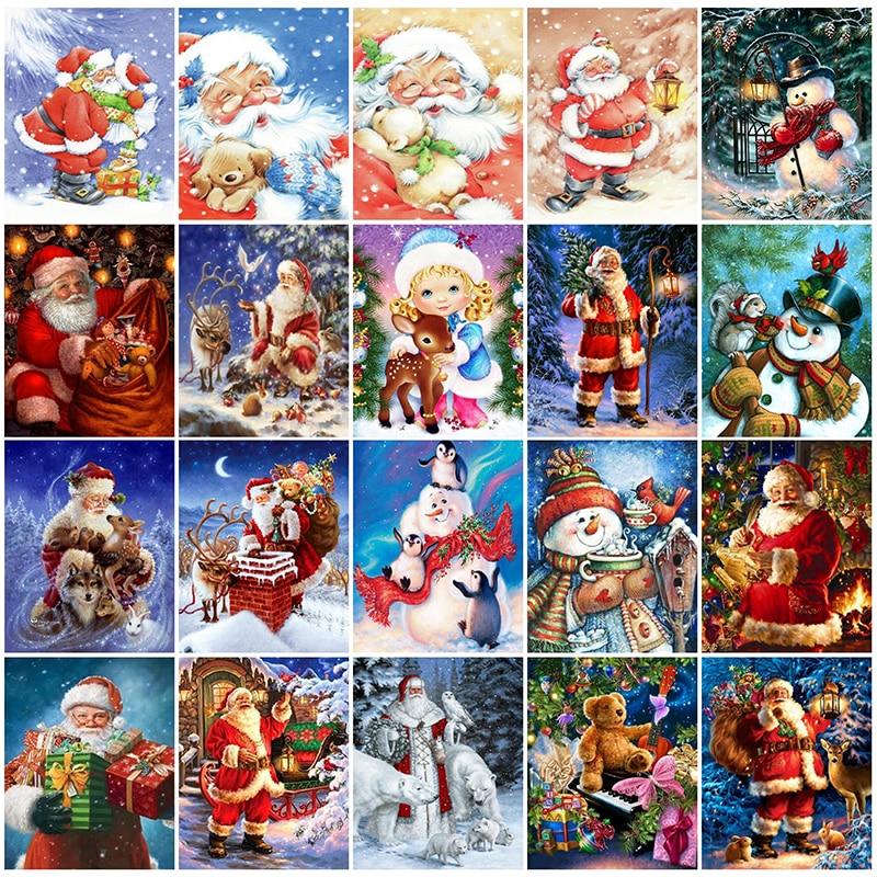 Full Diy Diamond Painting Embroidery Cross Stitch Santa Claus For Christmas Gift Diamond Mosaic Needlework Art Decoration Gx