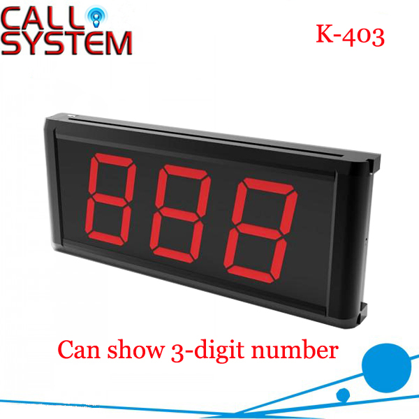 Wireless Call Bell System Display Receiver K-403 Can Show 3-Digit Number Wall amounted wireless table call bell system k 236 o1 g h for restaurant with 1 key call button and display receiver dhl free shipping