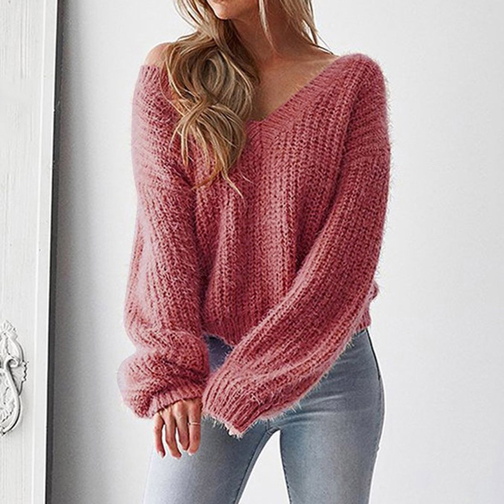 V-Neck Sweater Pullover Back-Knitted Virgin Killer Long-Sleeve Loose Sexy Women Casual-Leak