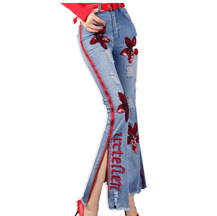 Pantalones Las Cremallera Mujeres Borla De Alta Pierna Floral Vaqueros Con Ankle La Franja 2018 Lateral Cintura Blue Rojo Mezclilla Mujer Raya Length Ancha Lentejuelas blue zqqUW5x