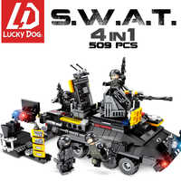 SWAT Building Block with Helicopter Military Troop Truck Block Education Toys for Children Compatible Legoing