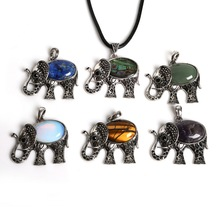 Charms-Pendant Natural-Stone Elephant Necklace Beads Animal Silver-Plated with Flat DIY