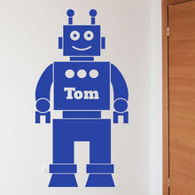 Personalised Name Boys Love Hot selling Cartoon Robot Wall Vinyl Decal Removable Kids Room Decoration Home Decor