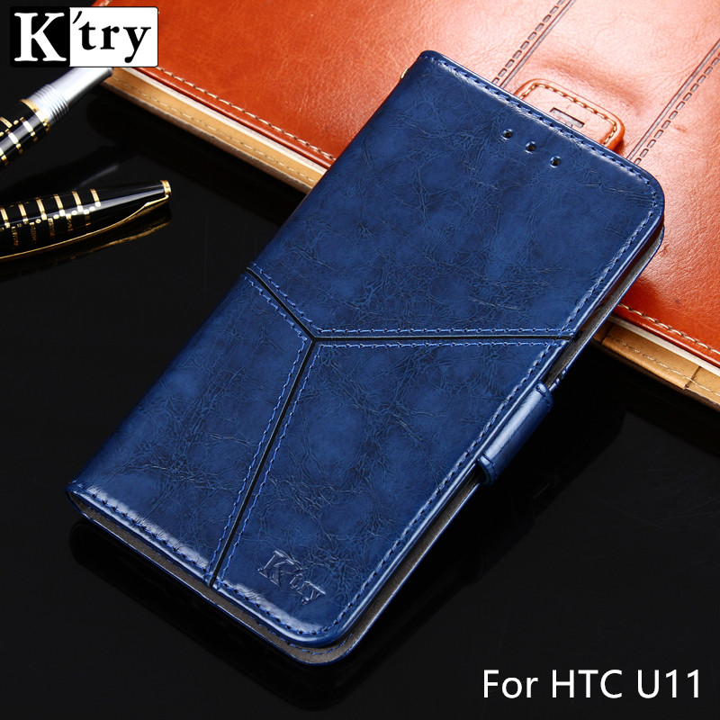 For HTC U11 Case K'TRY Vintage Pu leather with Soft Silicone TPU Cover Flip Capa For HTC U11 5.5inch Wallet Cover U 11