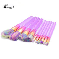 10pcs Pink Blue Transparent Handle Makeup Brushes Set Rainbow Professional Makeup Brush Fantasy Blush Blending Contour