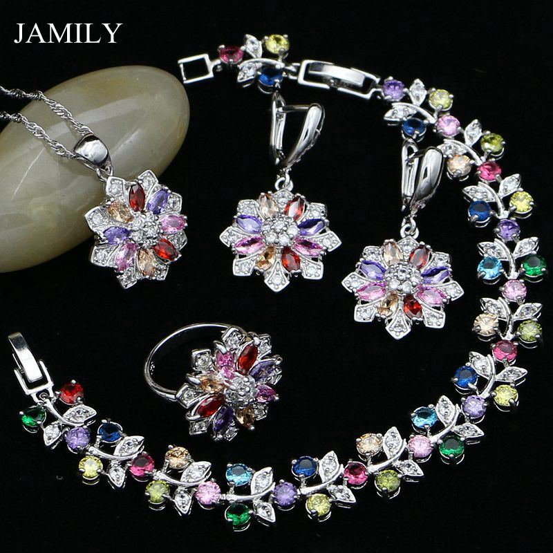JAMILY 925 Sterling Silver Jewelry Sets Multicolor Stones Zircon For Women Party Necklace Ring Pendant Bracelets Drop Earrings