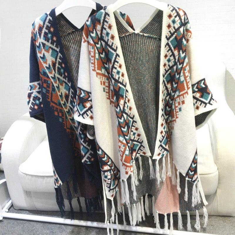 Vintage Ethnic Fringed Knit Cloak Geometric Poncho Bat-sleeved Tassels Cape Cardigan Sweater Shawl Woman Coat Pashmina 2018 New