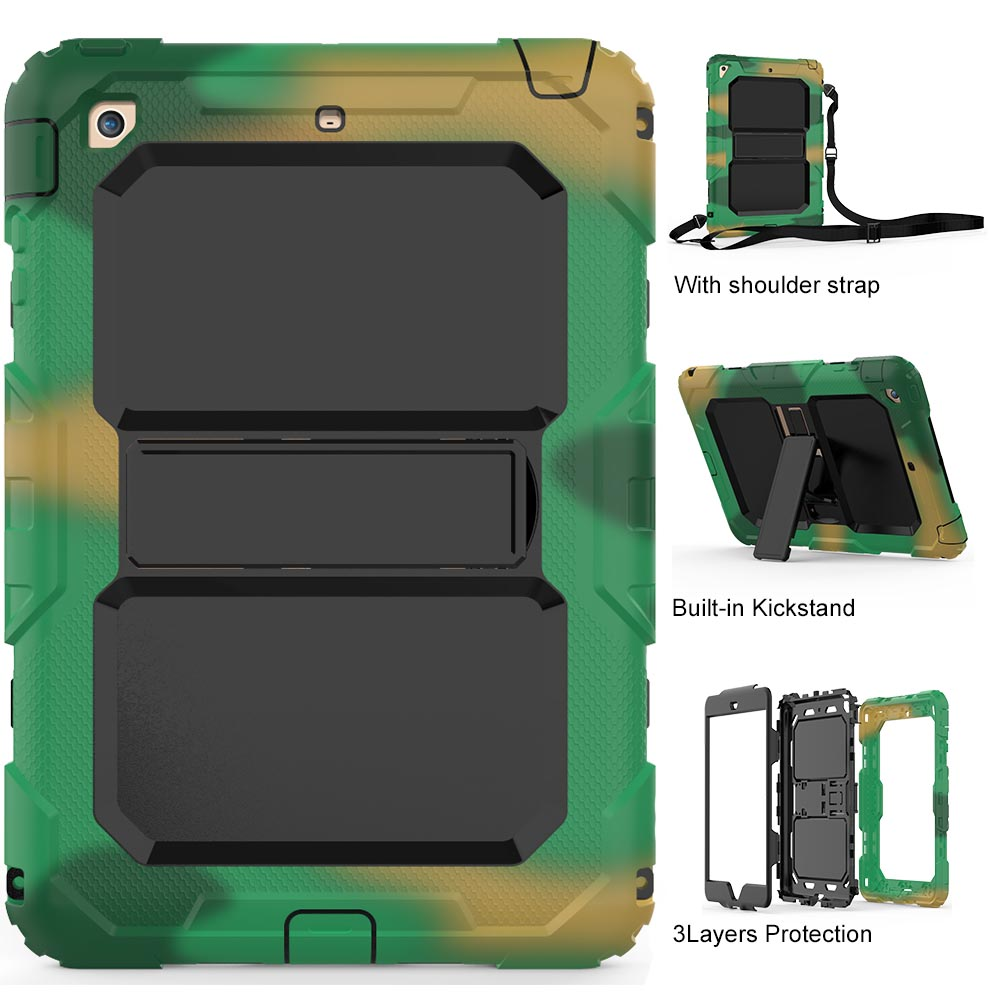 For iPad Mini Tablet Case Heavy Duty Kid PC Rugged Triple-Layer Hybrid Stand Skin Cover For Apple iPad Mini 1 2 3 Shoulder Strap tire style tough rugged dual layer hybrid hard kickstand duty armor case for samsung galaxy tab a 10 1 2016 t580 tablet cover