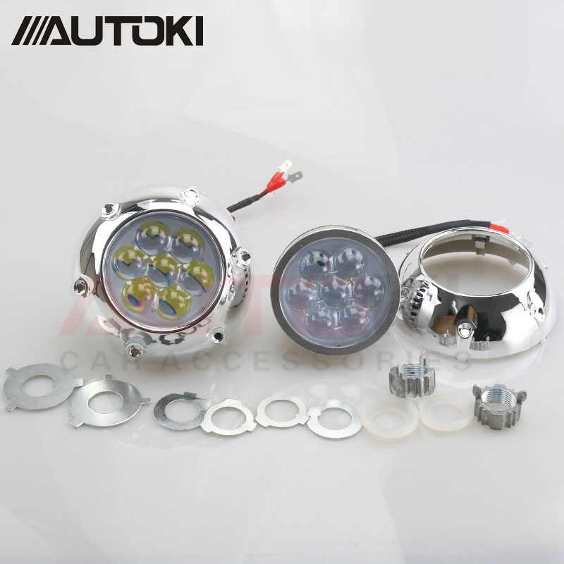 AUTOKI High quality 42W LED single high beam lens with shroud,LED projector with devil eyes for H4 h7 9005 9006 headlight
