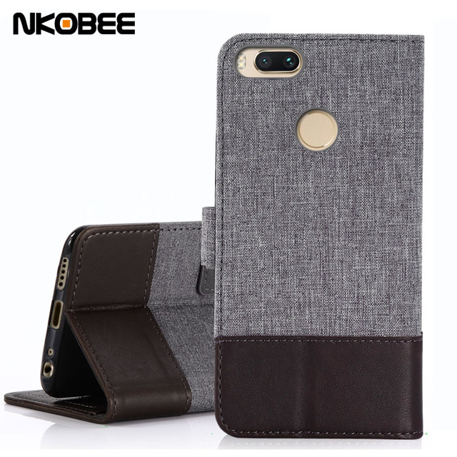 best service 4c9dd 5f996 US $4.99 |NKOBEE For Xiaomi Mi A1 Flip Case Stand Cover For Xiaomi Mi A1  Case Wallet Leather With Fabric Stitching Mi A1 Case Original-in Flip Cases  ...