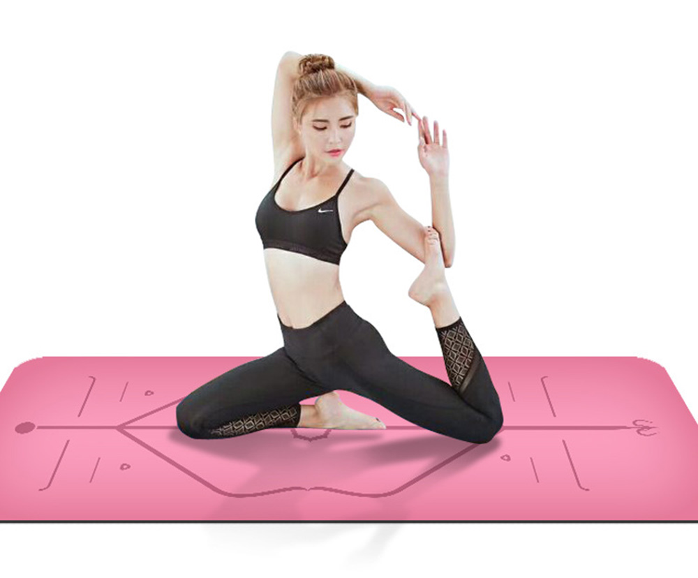Position Line Natural Rubber Comfortable Non-Slip Lose Weight Exercise Mat Fitness Yoga Mat Beginners Yoga Mat 183cm*80cm*5mm
