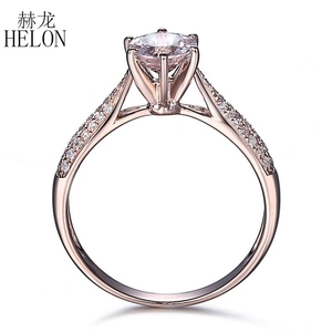 Image 3 - HELON Round Cut 6mm 0.59ct Elegant Morganite Ring Solid 14K Rose Gold Real Diamonds Ring Engagement Gemstone Unique Jewelry Ring