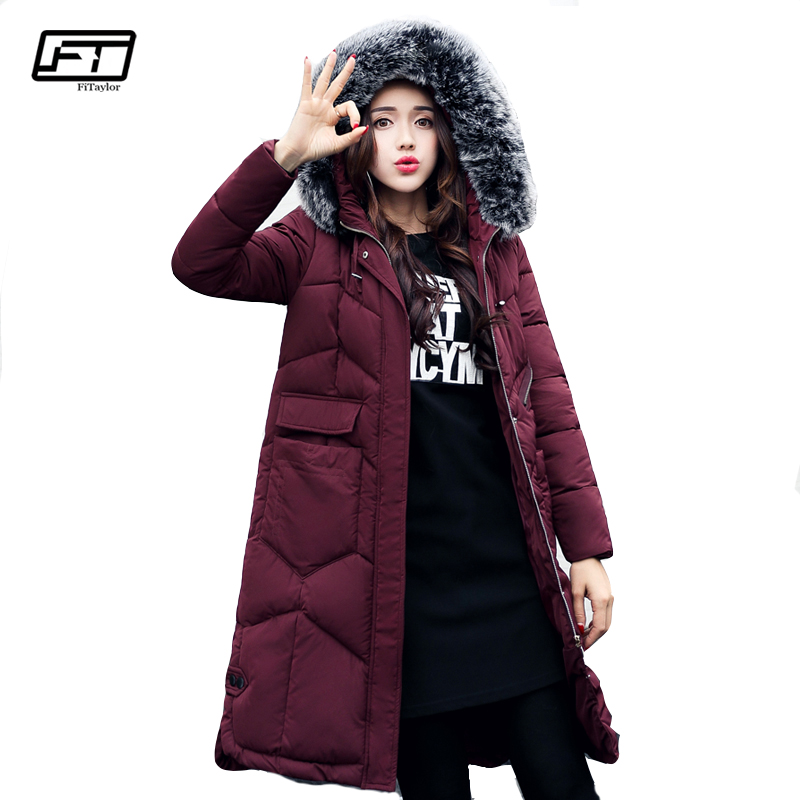 Fitaylor New 2017 Winter Cotton Coat Women Slim Large Fur Collar Hooded Parkas Medium Long Padded Warm Thickness Overcoat ftlzz new women winter jacket cotton coat slim large fur collar hooded parkas padded warm thickness medium long black overcoat