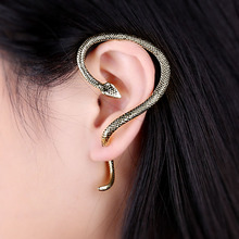 Metal Snake Ear Stud Exaggerated Punk Earring Personality Accessory Cuff Clip Wriggle Jewelry