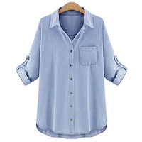 Autumn Plus Size 4XL 5XL Women Denim Shirts Casual Turn Down Collar Light Blue Jeans Blousas