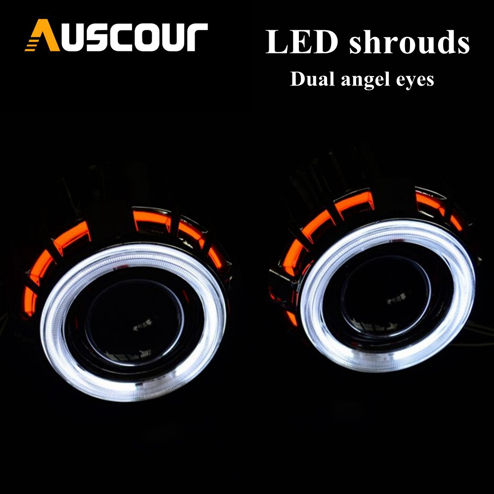 2pc 2.5inch DRL shrouds bixenon projector lens mask dual led angel eyes DRL white with red blue design ccfl with 2pcs inverter
