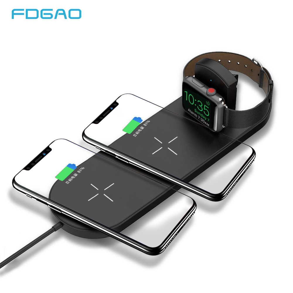 FDGAO 3 in1 Qi Wireless Charger base For Apple watch iPhone X Xs 8 Samsung S8 S9 Note9 Fast Wireless Charging Pad Station dockFDGAO 3 in1 Qi Wireless Charger base For Apple watch iPhone X Xs 8 Samsung S8 S9 Note9 Fast Wireless Charging Pad Station dock