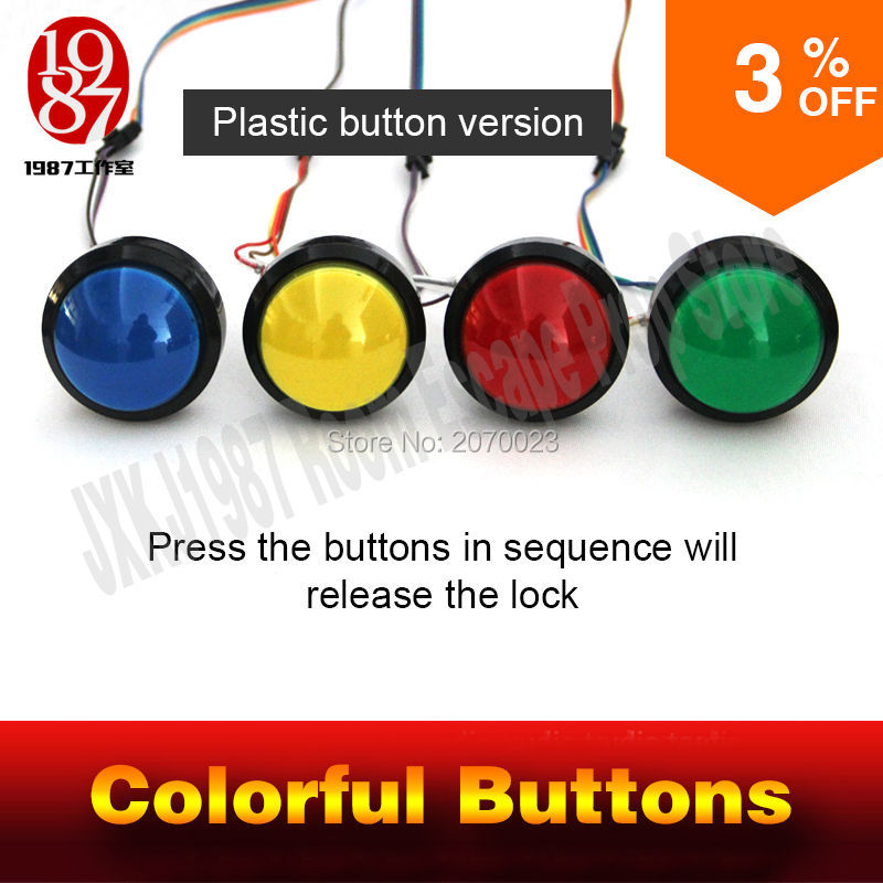 escape room game adventurer prop colorful button prop press four magic color buttons in right order