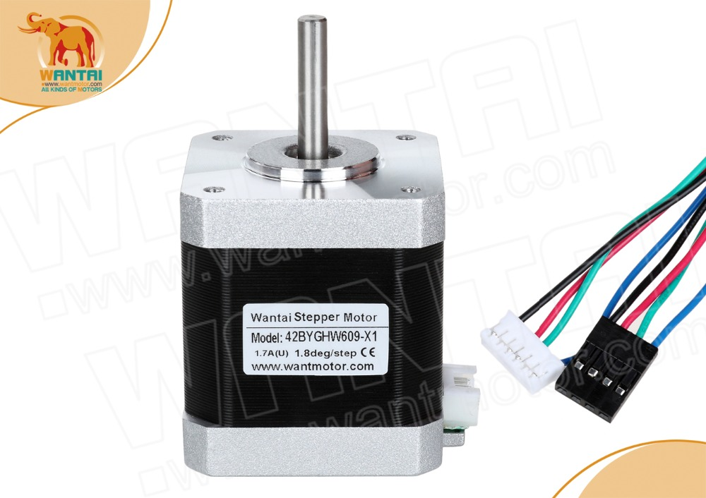 EU  DE STOCK! Wantai 1PC Nema 17 Stepper Motor 42BYGHW609-X1 4000g-cm 40mm 1.7A with single flat shaft,  Connectors 1000MM LeadsEU  DE STOCK! Wantai 1PC Nema 17 Stepper Motor 42BYGHW609-X1 4000g-cm 40mm 1.7A with single flat shaft,  Connectors 1000MM Leads