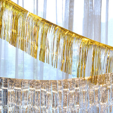 Sequin Photo Booth Backdrop Metallic Foil Fringe Tinsel Curtain Shimmering Gold Party Tassel Garland 120cmx35cm