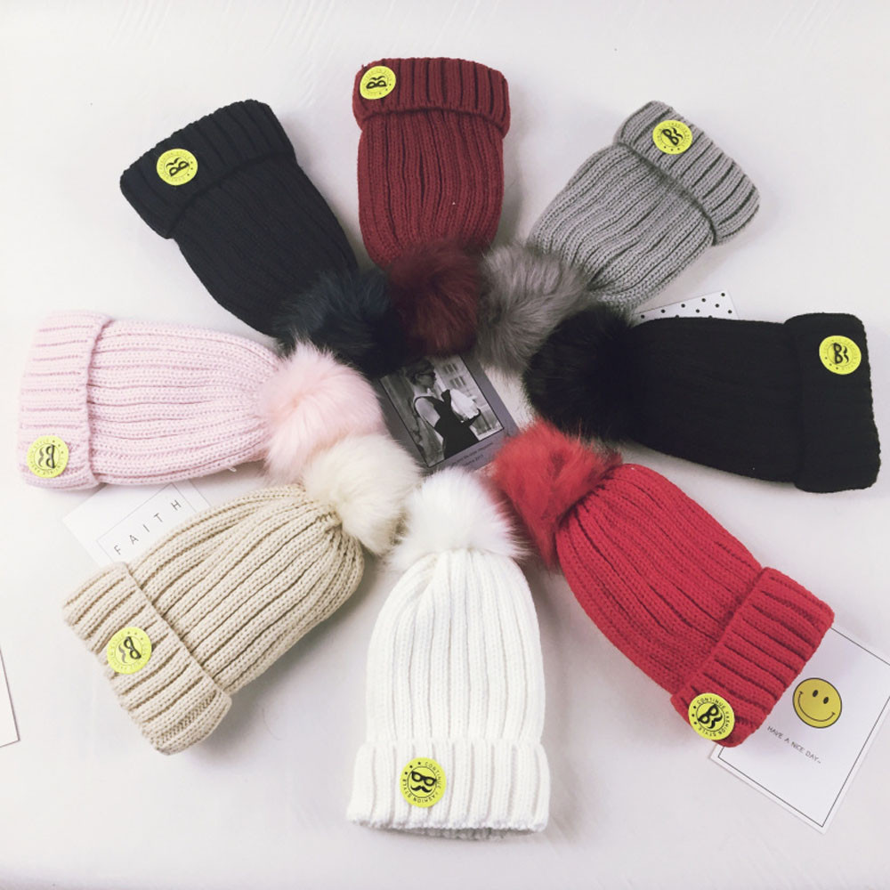 Autumn Winter fashion infant Knitted Baby Hat Adorable Baby Kid Elasticity Ball Letter Beanie Handcraft Knitted Warm Hat Cap