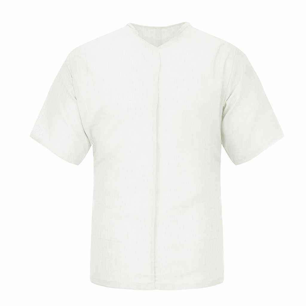 男性のカジュアルシャツトップスシュミーズ夏のファッション純粋な綿と麻半袖シャツブラウス男性快適トップ camisas masculina
