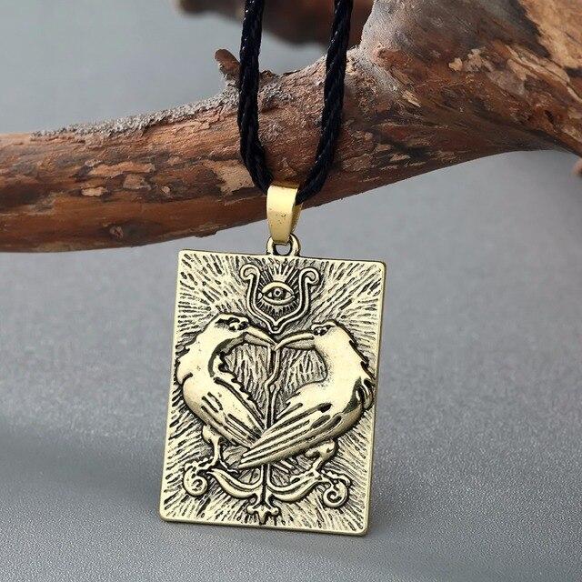 QIMING Valknut Norse Viking Necklace Women Bird Animal Pendant Odin Symbol Huginn Munin Raven Eye Punk Men Necklace 1