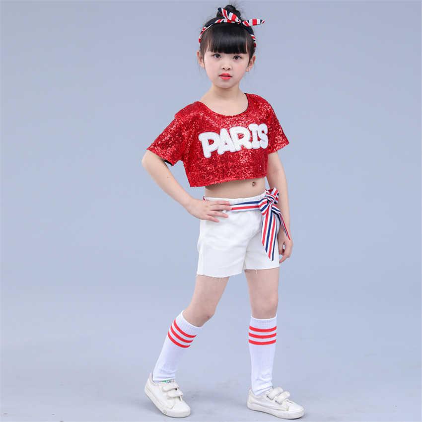 Джазовые танцевальные костюмы для девочек, одежда для сцены, хип-хоп, диджей, соревнования, уличные блестки, детский фестиваль, одежда для черлидеров
