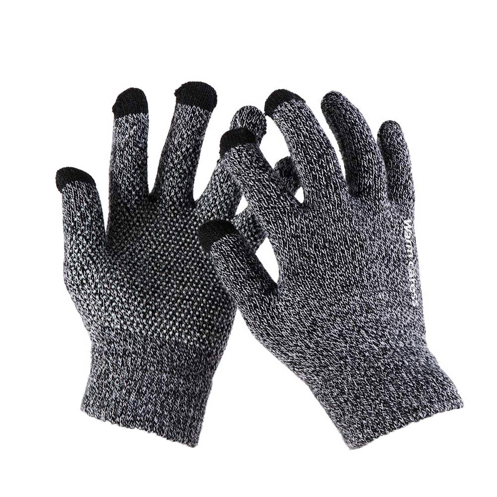 Hot High Quality Winter Autumn Men Knitted Gloves Touch Screen Male Thicken Warm Wool Cashmere Solid Gloves Men Mitten Business