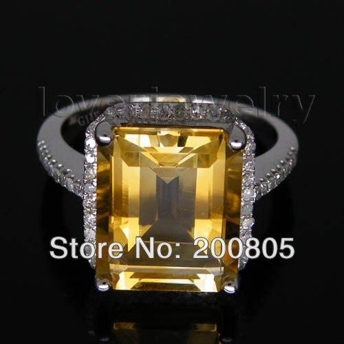 New Elegant Vintage Emerald Cut 10x12mm 14Kt White Gold Diamond Citrine Ring R0014