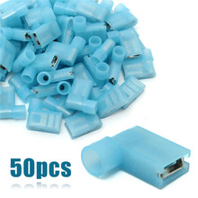 Mayitr 50pcs 16-14AWG Insulated Female Spade Terminals Right Angle Female Flag Crimp Connector for Terminals 500 pcs blue 16 14 awg nylon female flag terminal right angle electrical connector