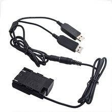 Adaptateur de coupleur de batterie factice de DR E6 + double câble USB pour Canon 6D 7D 5D Mark II III IV 70D 80D batterie externe et prise USB comme LP E6