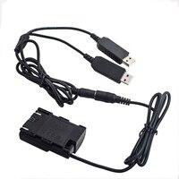 DR E6 manequim adaptador de acoplador de bateria + cabo usb duplo para canon 6d 7d 5d mark ii iii iv 70d 80d power bank & usb soquete como LP E6|Plugues e conectores| |  -
