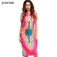 2017 New Summer Style Online Shopping India Dress African Print Dresses O Neck Mid Calf Dress