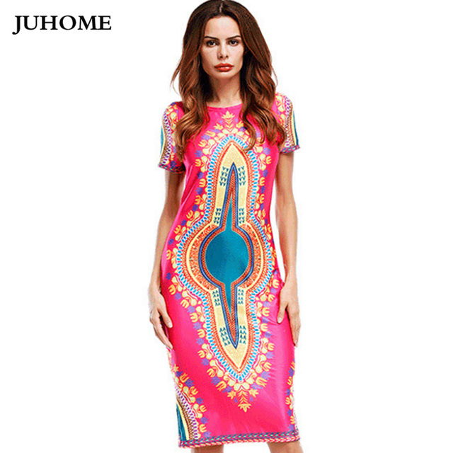 a0182b26c11b 2018 new summer style online shopping india dress african print dresses o  neck Mid Calf Dress bodycon slim fashion Women clothes