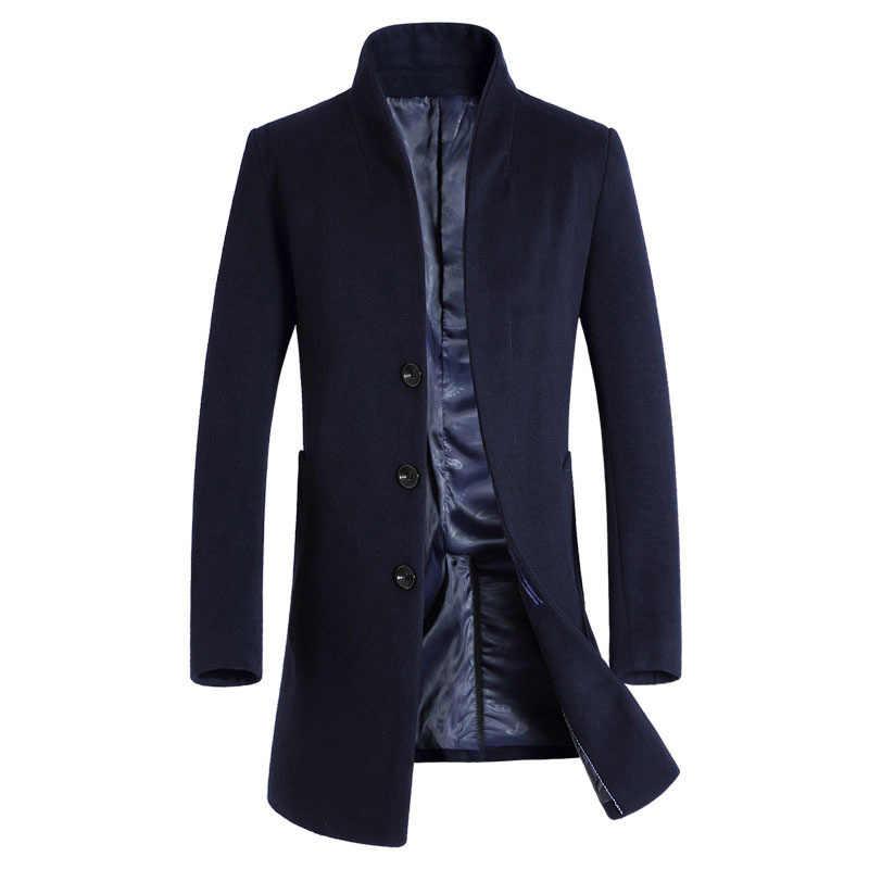 新メンズウールコート冬のデザイナーファッション高品質プラスサイズウールビジネスパーカーコート男性 Casaco Masculino BF1681