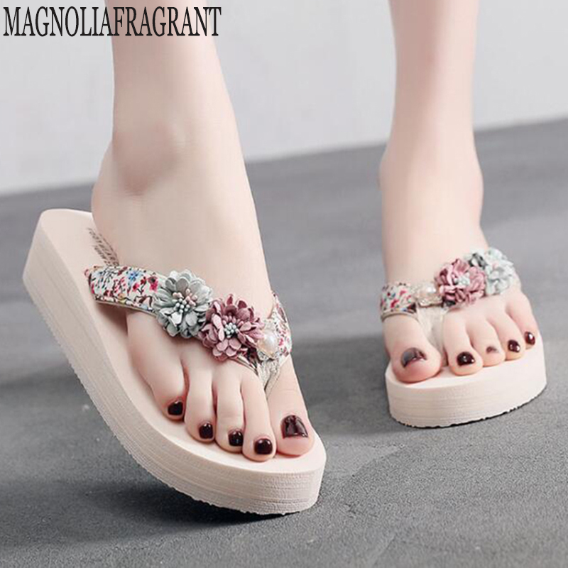New Women Floral Beaded Sequin Embellishment Mesh Slippers Flip Flop Sandal Wedge Platform Shoes Sandalia Feminina C597